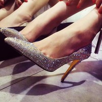 Fashion diamond pointed shoes, slim high heels, hot diamond sexy women's shoes High-quality