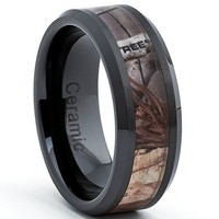 Black Ceramic Men's Hunting Camo Ring, Comfort Fit Band, 8mm Size 12