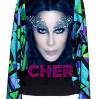 Cher Blue Pucci Pattern Sweater Top