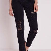 Missguided - Slim Fit Extreme Rip Mom Jean Black
