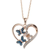 Blush Collection Blue & White Diamond Accent Pink Rhodium-Plated Sterling Silver Butterfly & Heart Pendant Necklace
