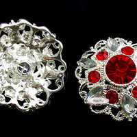 Red Rhinestone Flat Back Buttons - Rhinestone Flat Back Embellishment Button - Brooch Bouquet Wedding Jewelry Hair bows Cakes