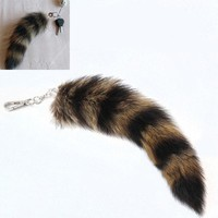 Cute Fox Racoon Tail Keychain Fur Pendant Key Chain Bags Charm Keys Holder Couple Keyrings  KQS8
