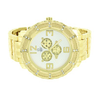 Silver Tone Dial Mens Watch Techno Pave 3 Decorative Dial