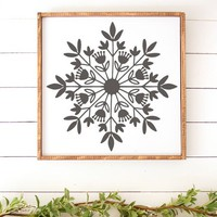 Scandinavian Snowflake Vintage Holiday Thanksgiving Christmas Holiday Vinyl Wall Decal