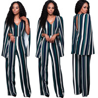 Green Stripe Cape Detail Jumpsuits