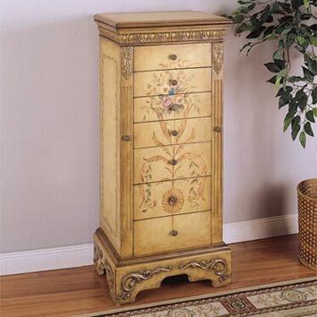 A.M.B. Furniture & Design :: Bedroom furniture :: Jewelry Armoires :: Masterpiece Antique Parchment finish wood Hand Painted Jewelry Armoire