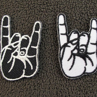 PAIR SMALL COOL HAND SIGNS Blk & Wht Embroidered Iron On Patch