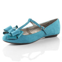 Teal t-bar bow pumps - View All  - New In  - Dorothy Perkins