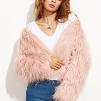 Pink Collarless Faux Fur Coat
