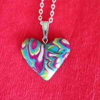turquoise green poylmer clay heart,polymer clay jewelry,beach necklace,ocean boho necklace,boho pendant,romantic gift for her,affordable