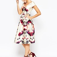 Chi Chi London Plunge Neck Midi Prom Dress In Sateen at asos.com
