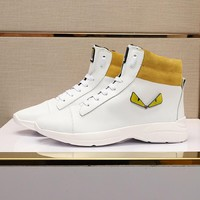 Fendi Men's Leather Fashion High Top Sneakers Shoes