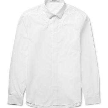 Givenchy - Slim-Fit Star-Embroidered Cotton-Poplin Shirt