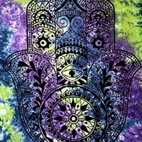 Fatima Hamsa Hand Indian Tapestry Throw , Tie Dye Tapestry , Hippie Hippy Wall Hanging, Mandala Tapestry,Indian Throw ,Decorative Cotton Bedspread,Home Decor Table Cloth, Bohemian Tapestries Decor Art 54x86''