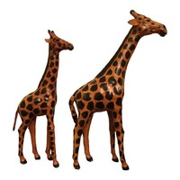 Pre-owned Handmade and Painted Leather Giraffes