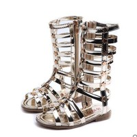 2018 New female child sandals princess shoes high shoes cutout gladiator baby boots girl's fashion sandals
