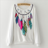 Flannel Feather print sweater