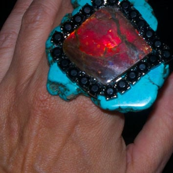 Turquoise and ammolite ring statement ring by Josette Redwolf