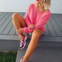 Don't Mind If I Do Sweater: Bubblegum Pink