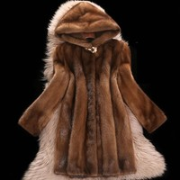 High Faux Mink fur Coat Female 2018 New Plus size 6XL Medium length Winter Hooded Tops Women Thicken Brown Mink Fur Coats H556