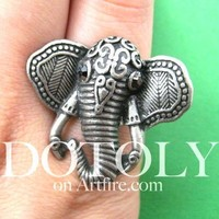 Adjustable Elephant Shaped Animal Ring in Silver with Textured Detail | DOTOLY