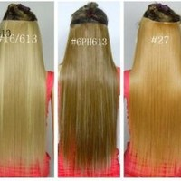 Fashionable Kanekalon Long Straight Synthetic Full Head Clip in Hair Extensions Ch011-27