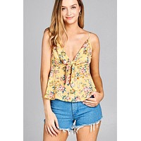 Floral Print Front Tie Cami Top