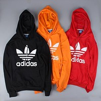 Adidas Women Men Print Long Sleeve Hoodies Velvet Sweater