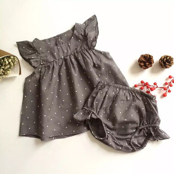 2016 Fashion Summer Style DOT Baby Girl Clothes COTTON Clothing Set Baby Clothing