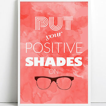 Positive Energy Watercolor Nerdy Glasses Art Hipster Funny Dorm Art cool Motivational Inspirational Typography Poster Home Decor Fashion Art