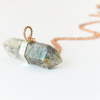 Quartz Pendant Rose Gold Necklace