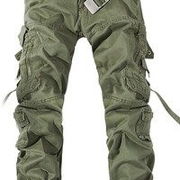 VonFon Mens Cotton Casual Military Army Cargo Camo Combat Work Pants Trousers Green 34