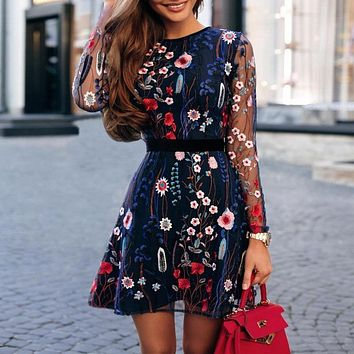 Floral Mini Dress Office Lady See-through Lace Dress 2019