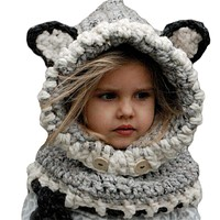 Cute Children Unisex Knitted Hat Button Hooded Scarf
