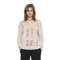 Womens Long Sleeve Cream Skye Distressed Pullover Sweater By One Grey Day
