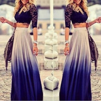 Spring Autumn Women Gradient Long Maxi Ankle-length Skirt Casual High Elastic Waist Skirts Vestidos [7688159686]