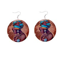 Blue African Fabric Cover Earrings
