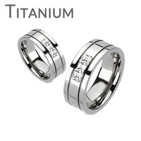 Oxygen - FINAL SALE A trio of square cut cubic zirconia grooved band titanium his and hers ring