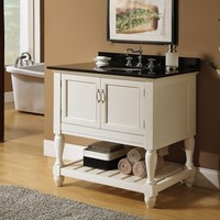 Vevila white finish wood country style wash basin sink and cabinet set with black marble top