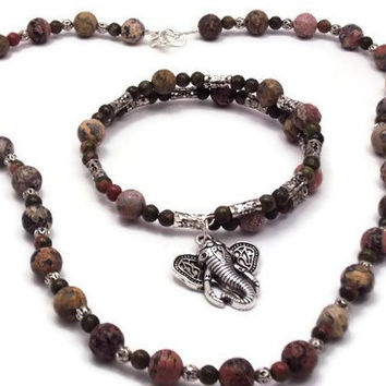 Boho Elephant Beaded Bracelet Necklace Set
