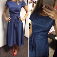 2016 Hot Sale Casual A-Line Dot Women Popular Dress Short Sleeve O-Neck Knee-Length Dress Summer Style Sashes Clothes Plus size