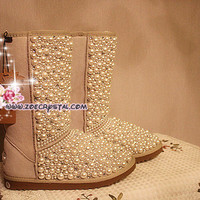 BLACK FRIDAY Sales 20% off - Winter Promotion Bling and Sparkly Sand SheepSkin Wool BOOTS w Creamy White Pearls
