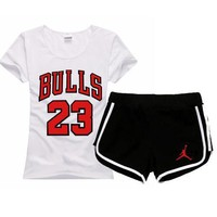 One-nice™ Jordan NIEK Women Men Fashion Print Cotton Sport Shirt Shorts Set Two-Piece Sportswear