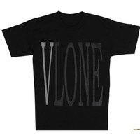 Vlone 3M reflective basic models large V short-sleeved summer loose bf wind men and women couple T-shirt tide