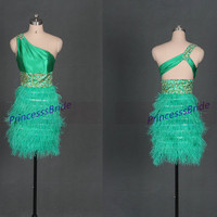 2014 short green homecoming dress with ostrich feather,unique gold sequins prom gowns hot,cheap women dresses for holiday party.