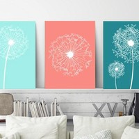 DANDELION Wall Art, Coral Aqua Teal Bedroom Pictures, Dandelion Decor Canvas or Prints Bathroom Decor, Dorm Room Decor, Set of 3 Pictures