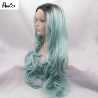 Mint Green Long Bodywave Synthetic Lace Front Wig