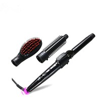 3 in 1 Ceramic Curling Iron Interchangeable Hair Curler Wand 25mm Curling Hair Straightener Brush Hair Tools