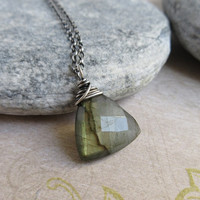 Oxidized Sterling Silver Labradorite Necklace, Gemstone Triangle Labradorite Pendant, Antiqued Jewelry